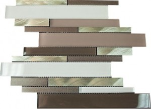 "Newport brown blend 2 7/8"" x 5/8"" aluminium & white grey glass mosaic tile"