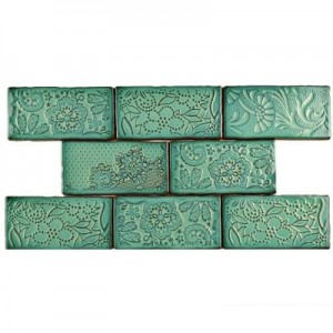 Carnival Glossy Fern Rectangular 3 in. x 6 in. Ceramic Wall Tile (1 sq. ft. / pack)