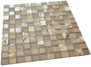 "7/8"" x 7/8"" serene light pink & yellow desert sand shell glass mosaic tile"