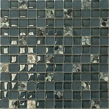 "7/8"" x 7/8"" serene black & grey stormy sea glass mosaic tile"