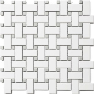 White Porcelain with Grey Dot 1x2 Basketweave Mosaic Tile by Roca Tile USA