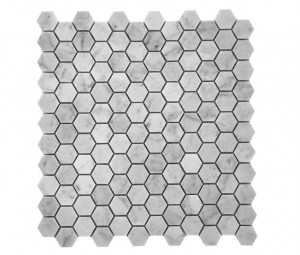 Bianco White Carrara Marble Honed Mesh Mounted Tile in 1x1 Hexagon Tile format