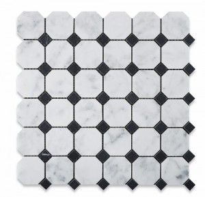 Bianco White Carrara Marble with Black dot Honed Mesh Mounted Tile in 2x2 Octagon Tile format