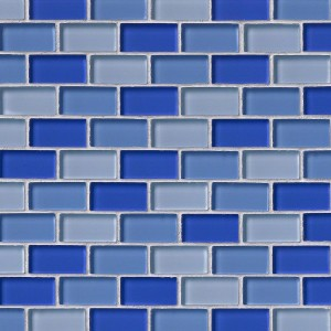 1x2 Blue Blend Crystallized Glossy Glass Mosaic Tiles