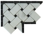 Italian Calacatta Gold Marble Basketweave Polished 4 in. x 4 in. Border Corner Piece Mosaic