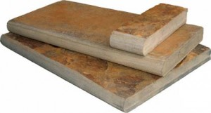 "California Gold Natural Slate 12 in. x 24 in. x 2"" or 5 cm Coping for Pool, Patio, Treads (Each Piece.: 2 Sqft.)"