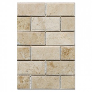 Cappuccino Bevelled Polished Marble Mesh Mounted Mosaic Tile