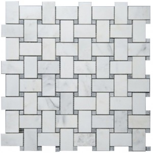 Bianco White Carrara Marble with Grey Dot Honed Basketweave Tile