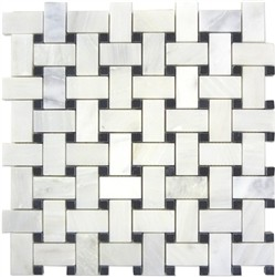 Bianco White Carrara Marble with Black Dot Basketweave Honed Mosaic Tile