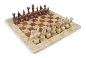 12 in. x 12 in. Fossil and Red Onyx Stone Chess Set
