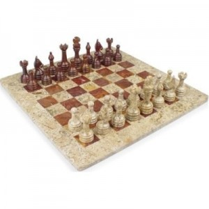 12 in x 12 in Red Onyx & Fossil Marble Chess Set