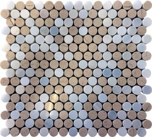 Centro Plaza Crema Marfil Penny Round White & Beige Marble Mosaic Tile
