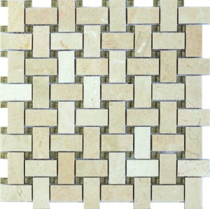 Cross Beige Crema Marfil Marble with Beige Glass 1 in. x 2 in. Basketweave Mosaic Tile | Accent Wall | Interior Wall | Shower Wall | Shower Floor | Exterior Wall