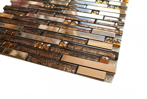 "2 7/8"" x 5/8"" Random newport deep bronze blend stainless steel & glass mosaic tile"