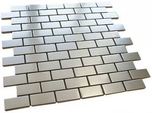 "Newport 7/8"" x 1 7/8"" stainless steel glass mosaic tile - brick pattern"