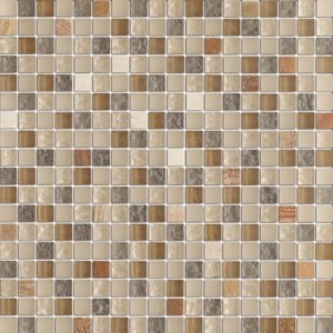 5/8 in. x 5/8 in.Quantum cafe cream blend stone & glass mosaic tile - square pattern