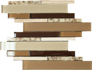 "Newport safari Beige brown glass blend & beige marble doce 2 7/8"" x 5/8"" aluminium mosaic tile"