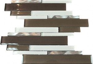 "2 7/8"" x 5/8"" Newport henna white blend aluminium & brown white grey glass mosaic tile"