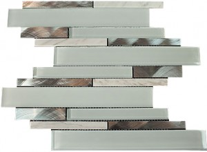 "2 7/8"" x 5/8"" Newport rich white blend aluminium & white glass & white marble mosaic tile"