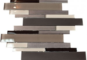 "2 7/8"" x 5/8"" Newport cherry brown blend aluminium beige & black glass mosaic tile"