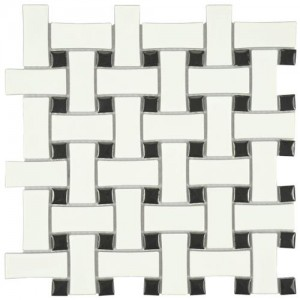 Cityside Matte Powder and Black Basket Weave 10-1/2 in. x 10-1/2 in. x 5 mm Porcelain Mosaic Tile