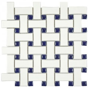 Cityside White and Denim Basket Weave 10-1/2 in. x 10-1/2 in. x 5 mm Porcelain Mosaic Tile