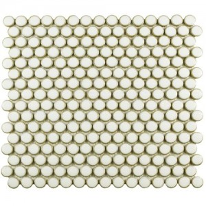 London White Penny Round Glossy Porcelain Mosaic Floor and Wall Tile