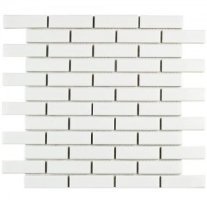 Cityside Glossy Pearl Brick 11-1/2 in. x 11-1/2 in. x 5 mm Porcelain Mosaic Tile (9.3 sq. ft. / case)