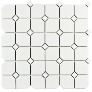 Cityside Matte White with White Dot Hexagon 11-3/4 in. x 11-3/4 in. x 6 mm Porcelain Mosaic Tile