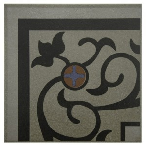 Sultan Matte Metal Flower Square 7 in. x 7 in. Porcelain Floor and Wall Corner Tile