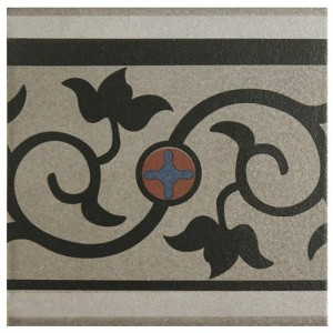 Sultan Matte Metal Flower Square 7 in. x 7 in. Porcelain Floor and Wall Border Tile