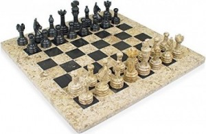 16 in. x 16 in. Fossil Black Marble Chess Set Staunton Free Gift Box