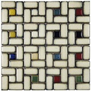 Audubon Glossy Multi Square 12 in. x 12 in. x 6 mm Spiral Cascade Ceramic Floor and Wall Mosaic Tile