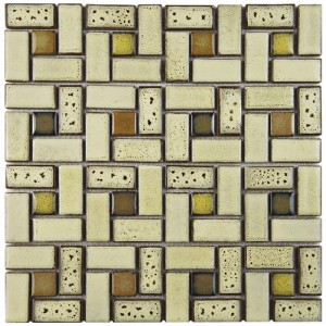 Audubon Glossy Multi Square 12 in. x 12 in. x 6 mm Spiral SierraCeramic Floor and Wall Mosaic Tile