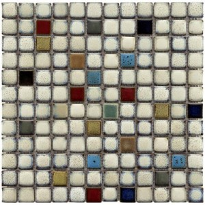 Audubon Glossy Multi Square 12 in. x 12 in. x 6 mm Cascade Ceramic Mosaic Tile