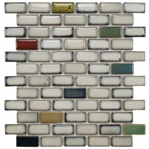 Audubon Polished Multi Subway 12-1/2 in. x 12-3/4 in. x 6 mm Cascade Ceramic Floor and Wall Mosaic Tile