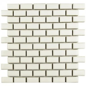 Audubon Glossy Pearl Subway 11-7/8 in. x 12 in. x 9 mm Porcelain Mosaic Tile