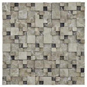 Slate Tumbled Square 12 in. x 12 in. x 12 mm Gaodi Emperador Natural Stone Mosaic Wall Tile