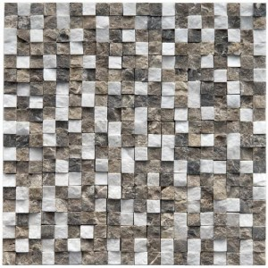 Multi Tumbled Square 12 in. x 12 in. x 9 mm Chiseled Sand Natural Stone Mosaic Tile