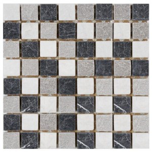 Multi Tumbled Square 12 in. x 12 in. x 9 mm Charcoal Natural Stone Mosaic Wall Tile