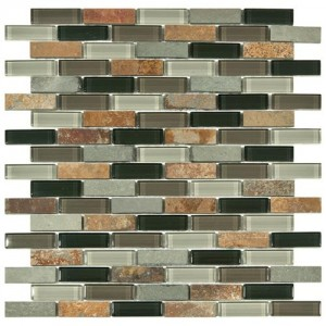 Gypsy Mixed Multi Subway 11-3/4 in. x 12 in. x 8 mm Stonehenge Glass and Stone Mosaic Wall Tile