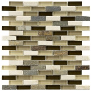 Gypsy Mixed Multi Subway 11-3/4 in. x 12 in. x 8 mm Nassau Stone Glass and Stone Mosaic Wall Tile