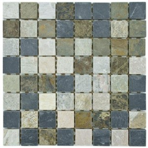 Redwood Matte Multi Slate Square 11-3/4 in. x 11-3/4 in. x 9 mm Mosaic Tile