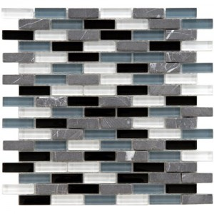 Gypsy Mixed Multi Subway 11-3/4 in. x 11-3/4 in. x 8 mm Glass and Stone Mosaic Wall Tile