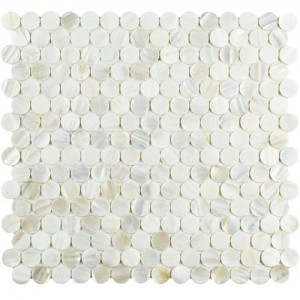 Conchella White Mini Penny Round Natural Seashell Polished Mosaic Tile