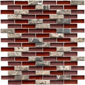 Gypsy Mixed Garnet Subway 11-3/4 in. x 11-3/4 in. x 8 mm Glass and Stone Mosaic Wall Tile