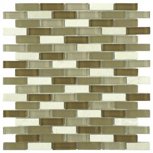 Gypsy Mixed Peanut Subway 11-3/4 in. x 11-3/4 in. x 8 mm Glass and Stone Mosaic Wall Tile