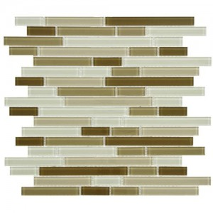 Beige-Cream Glossy Random Strip 11-3/4 in. x 11-3/4 in. x 4 mm Glass Mosaic Tile