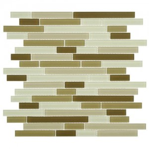 Beige-Cream Matte Random Strip 11-3/4 in. x 11-3/4 in. x 4 mm Glass Mosaic Tile
