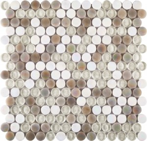 White and Light Grey Textured Glass 11.75x11.75 Penny Round Mosaic Tile